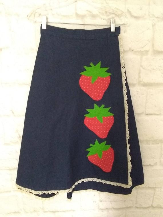 New women skirt vintage 70s denim blue red strawbe