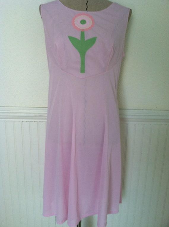 Women dress vintage 60s 70s pink sleeveless floral applique mod boho thin slip dress size S M
