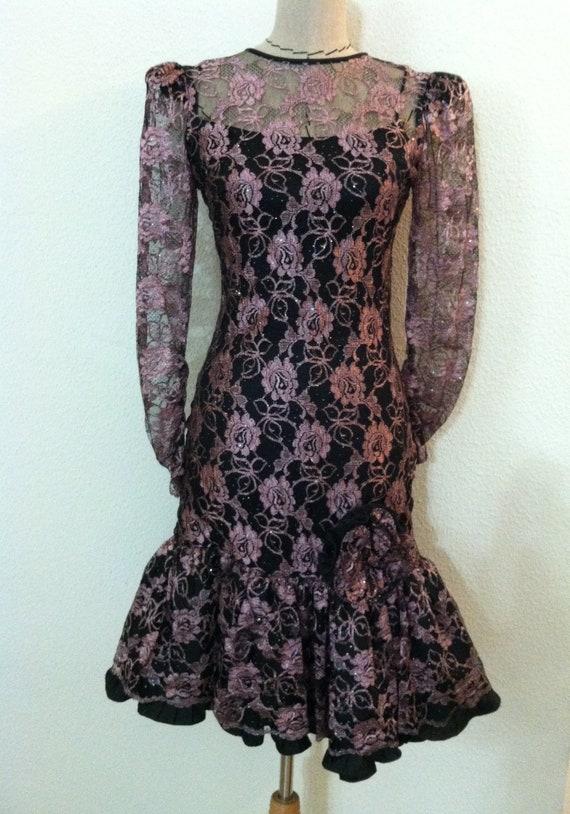 Womens Vintage 80's dress black pink lace cocktail