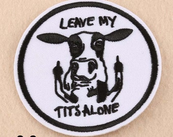 Patch Sewing Milk on My Applique DIY Leave Embroidered Tits COW iron Funny Alone