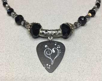Rock n Roll jewelry, Black and silver necklace, Women's jewelry, Guitar pick necklace