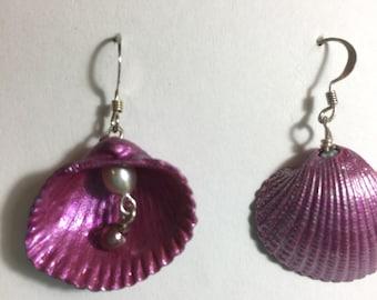 Hand Painted Shells with Pearls: Seaside Mandala Earrings