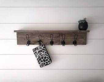 Calder Shelf with Hooks Wall Hooks Key Hook Entryway Wall Shelf Coat Hooks Floating Shelf Coat Hooks Leash Hook 20 Stain Colors