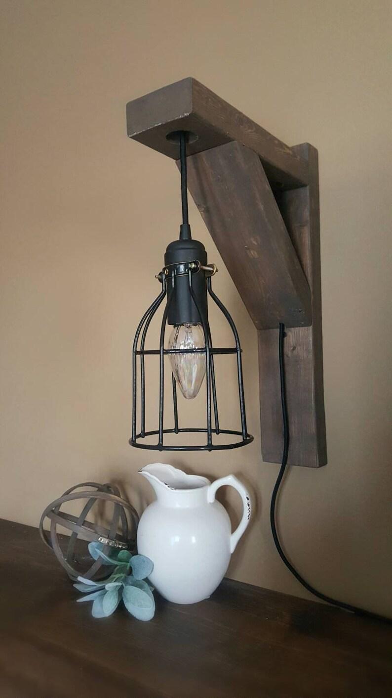 Bauernhaus-Licht, Wandleuchte, Fixer Upper, Holz Leuchte, Schlafzimmer  Licht, Käfig Licht