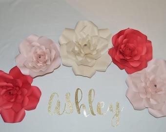 Five 10' - 14' Handmade Paper Flower Roses