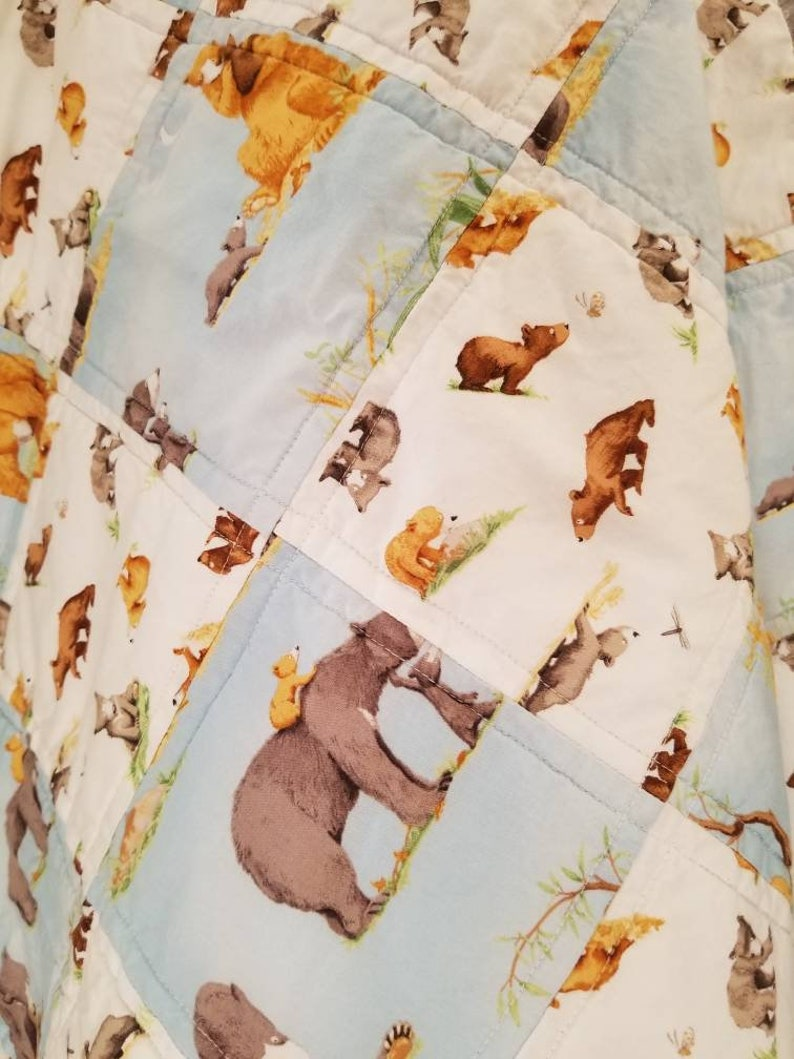 Ready-to-ship Baby Bear Crib Blanket Mama Bear Patchwork Crib Quilt