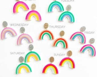 Weekly Rainbow Statement earrings