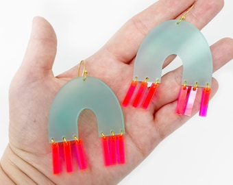 Neon pink and Mint Statement Earrings