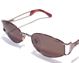 8b368b9308 Vogart Police Mod 3524 Vintage Sunglasses Copper Red Oval Lenses Silver  Frame Marbled Tips Made in Italy  80 NOS Mint