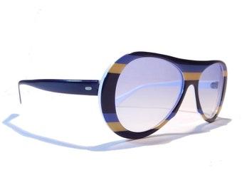 2a5c4b69084 Montatura in acetato grassetto spesse lenti blu Made in Italy a righe  salice Vintage occhiali da sole Aviator Bruce Lee stile colorato NOS 70