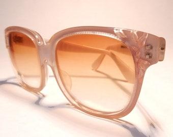 fc6ca741d0db Emmanuelle Khanh Oversize Gradient Orange Bronze Lens Acetate Square Clear  Frame Made in France  80 NOS