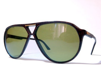 4e36d3480446 Contempora By Safilo Green Lenses Bold Aviator Mahogany Brown Frame Vintage  Sunglasses Made in Italy NOS  80