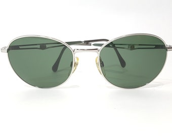 ece88b72d5 Sergio Tacchini Rounded Aviator Green Lens Silver Polished Metal Frame  Double Hinges Sportswear Made in Italy  90