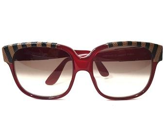 ea58ec0c1a0 Emmanuelle Khanh Wayfarer Bronze Lens Acetate Red Frame Lizard Skin Exotic  Paris France  70 Vintage