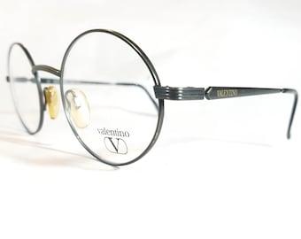 e3a12234d Valentino Vintage Eyeglasses Round Grey Gun Metal Frame Carved Hinges Golden  Logo Made in Italy NOS 80