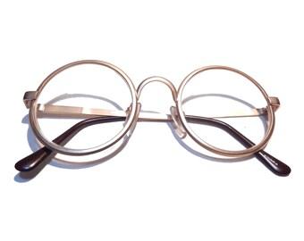 d3be0afb2 Vintage Eyeglasses Round Lens Golden Metal Frame Prescription Ready Harry  Potter Style NOS