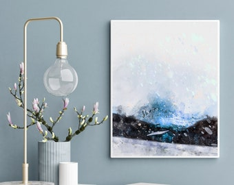 Abstract Painting of a Cabin in the Snow. Cold Blue Shades, Watercolor, Dreamy, Printable, Home Decor Wall Art