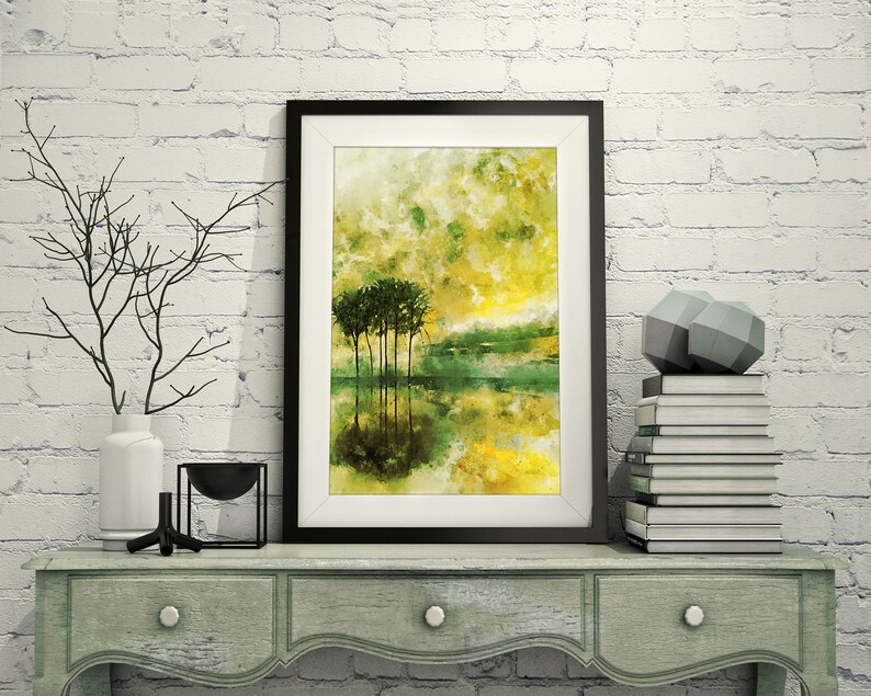 Abstract Trees Reflected On Water Lemon Yellow And Lime Green Etsy