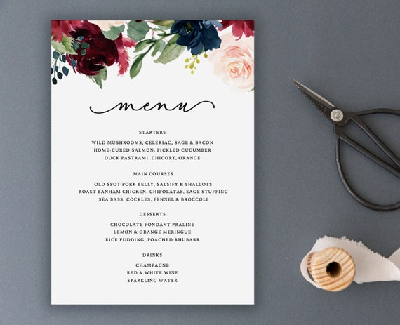 editable menu template wedding menu printable diy wedding etsy