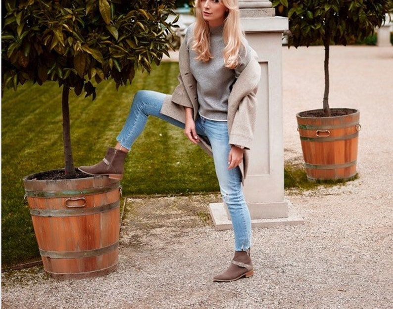 Cappuccino and bi-material black color leather boots Michelle
