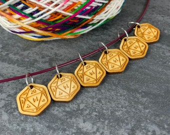 Just the D20 - Dice Stitch Marker set of 6
