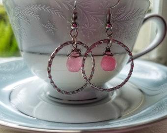 Pink Drop Circle Earrings