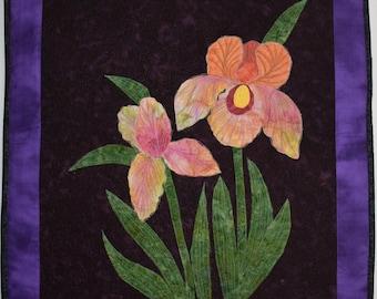 Art Quilt Iris - Wall hanging