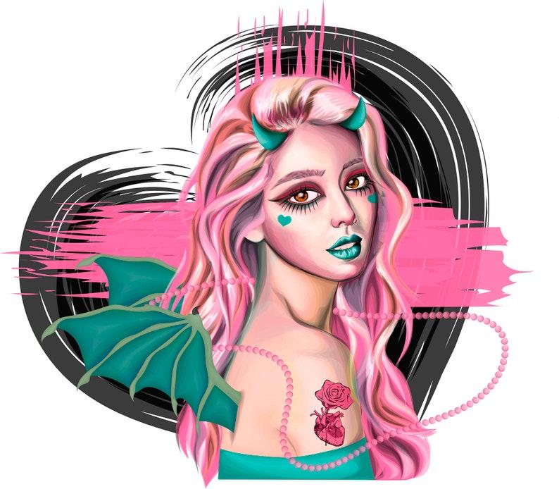 288d877a6 Pastel gothic devil. Pastel gothic artprint. Pink haired devil | Etsy