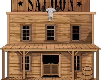 Saloon. Wild west clipart. Western digital.