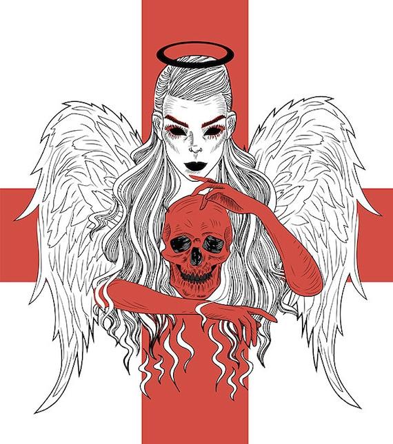 Anioł śmierci Vintage Tattoo Art Sztuka Rysowania Linii Pobierz Nstant Upadły Anioł Gothic Sztuka Drukowania