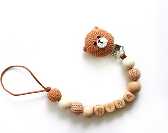 Personalised dummy clip holder with name with crochet bear and crochet acorn Schnullerkette mit Namen