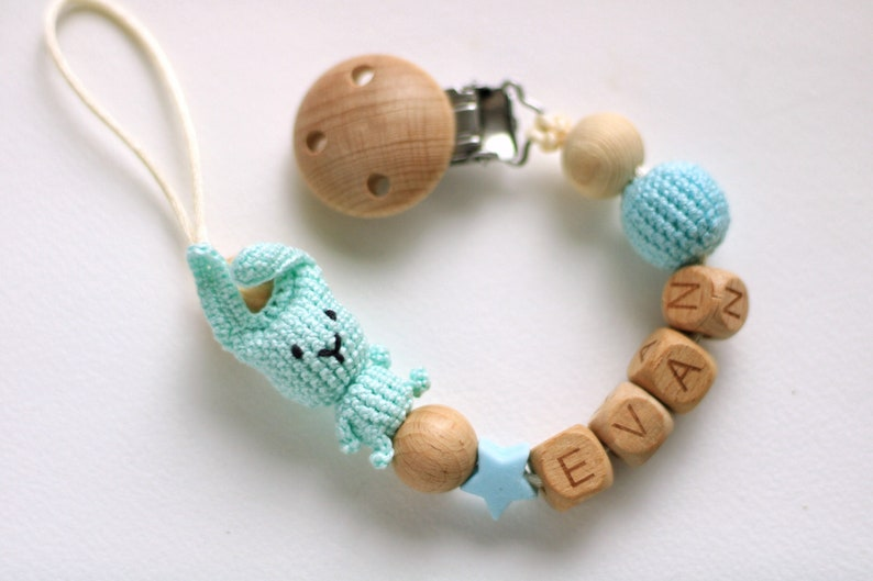 Personalized pacifier clip with crochet rabbit for girl Dummy clip Schnullerkette mit name Attache tetine personnalize