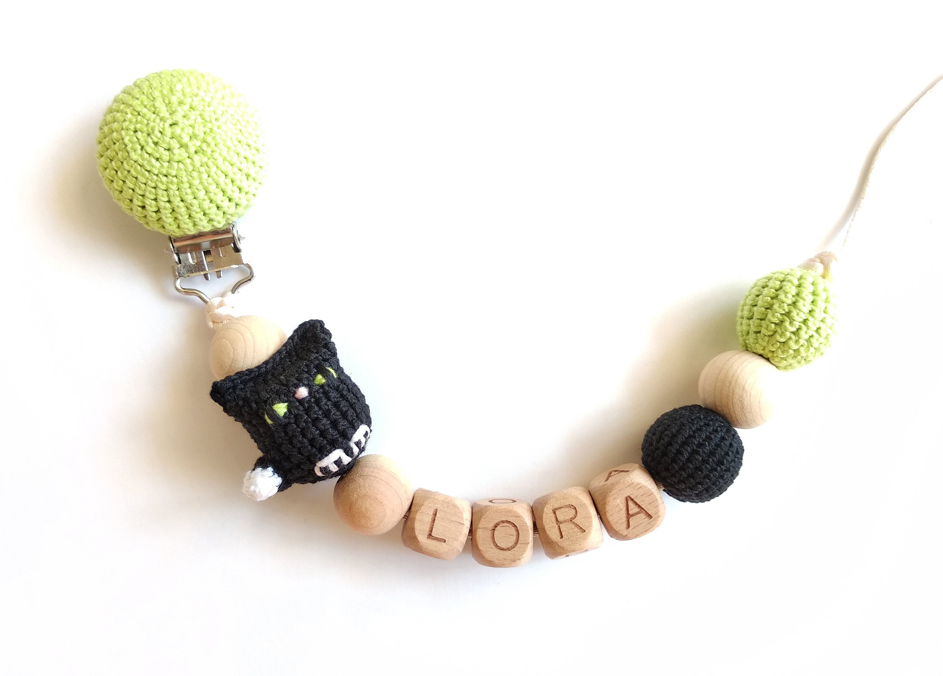 Name Wooden Beads Dummy Clip Pacifier Holder Baby Teething Chain FA
