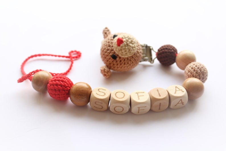 Gift for new born baby personalised dummy clip holder with name with wooden and silicone beads and crochet puppy Baby shower gift