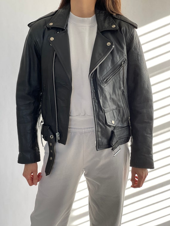 Vintage Classic Leather Biker Jacket