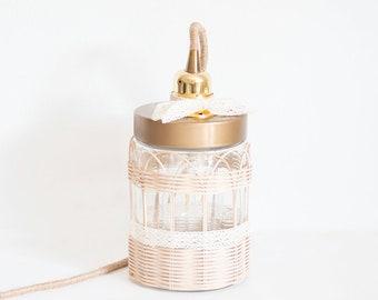 Jar color woven rattan lamp gold