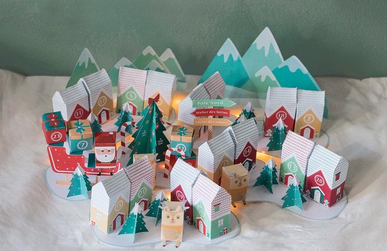 Calendrier de l'avent à imprimer Village de Noël image 1