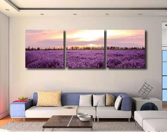 Set of 3 Paints by numbers/ Lavender in the Garden / Living Room Decoration/ Wall Art / Gift for Her/ Painting Kit Set/ Romantic Purple