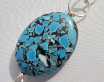 Turquoise statement necklace pendant # 1