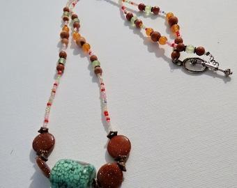 Malachite focal bead beaded necklace #2