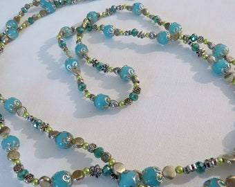 Extra long necklace blue silver green