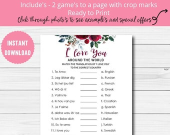 i love you around the world printable bachelorette party games instant download christmas bridal shower game bs12
