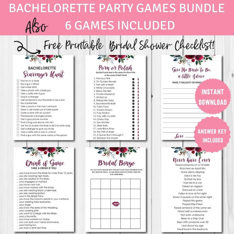 graphic relating to Free Printable Bachelorette Party Games identified as Bachelorette Celebration Game titles, Printables Deal, Fastened of 6 game titles, Xmas Bridal Shower, Instantaneous Obtain, BS12