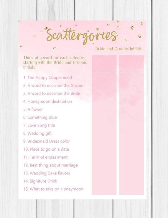 image relating to Scattergories Lists 1 12 Printable called Scattergories, Printable, Bridal Shower Game titles, Blush Purple and Gold, Bridal Scattergories, Fast Obtain, Scattergories Sport, BS8