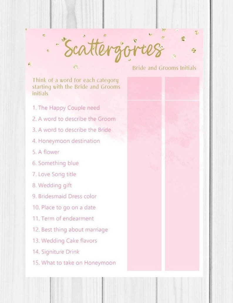 photo regarding Scattergories Printable titled Scattergories, Printable, Bridal Shower Online games, Blush Crimson and Gold, Bridal Scattergories, Prompt Down load, Scattergories Activity, BS8