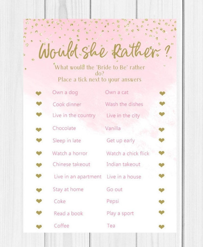photo relating to Bridal Shower Printable Games known as Would She As a substitute, Bridal Shower Activity, Bachelorette Bash, Bridal Shower, Printable, Prompt Down load, BS8