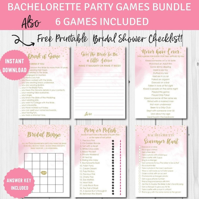 graphic about Free Printable Bachelorette Party Games titled Bachelorette Social gathering Online games, Printables Offer, Mounted of 6 game titles, Immediate Obtain, BS10