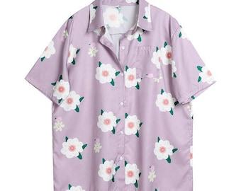 9b969aaf0a0 Flower Hawaiian Shirt, Vintage Floral Pattern Button Down, Purple Unisex  Button Up Shirt, Novelty Print Short Sleeve Shirt, Vacation Top