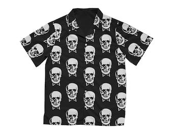 Vintage Skull Hawaiian Shirt, Skeleton Pattern Button Down, Black White Unisex Button Up, Novelty Print Short Sleeve Shirt, Vacation Shirt