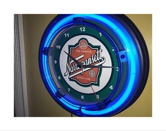 47740de00d8a Narragansett Beer Bar Retro Bar Man Cave Blue Neon Wall Clock Sign